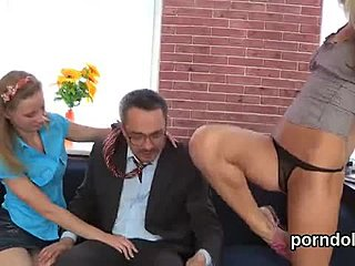 Classy, Young, Group, Old, Teasing, Handjob, Blonde